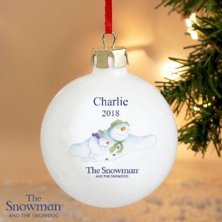 Personalised The Snowman and The Snowdog Flying Bauble Decoration